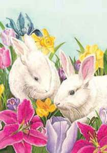 Bunnies and Lillies Easter Garden Flag by Custom Decor 683963026425