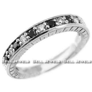 BLACK DIAMOND WEDDING BAND 14K WHITE GOLD RING VINTAGE ANTIQUE STYLE
