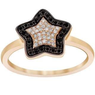 50 Carat Black & White Diamond Micro Pave Star Shape Ring 14K Rose