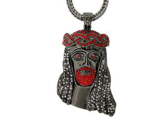 ICED OUT BLACK/RED JESUS PIECE PENDANT & FRANCO CHAIN