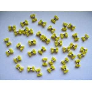 Nail Art 3d 40 Pieces small Yellow Bow /Rhinestone for Nails