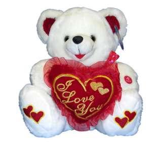 Teddy Bear I Love U Stuffed Animal Plush w Music LIGHT UP Cheeks NEW