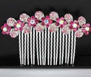 Alluring jewelry multi bloomy flower bridal hair comb pin rhinestone