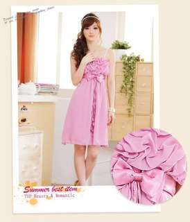 Women Elegant Bow Ribbon Chiffon Dress 8316B,BLUE,1 sz