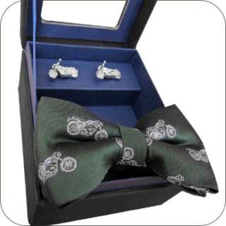 Motorcycle Green Silk Bow Tie & Cufflinks Cuff Links Set Bohn