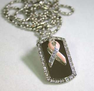 BREAST CANCER SURVIVOR TAG NECKLACE PENDANT CHARM