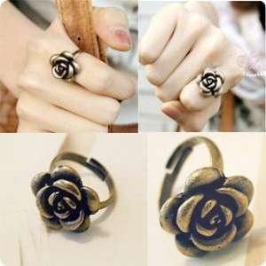 Bronze Fashion Retro Adjustable Rose Ring 4 Lady Girl