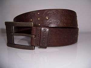 NWT Marc Ecko mens 38 40 42 95 100 105 brown genuine leather belt