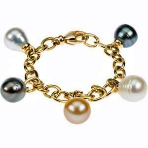 Pearl Charm Bracelet With Multicolored South Sea and Tahitian Cultured