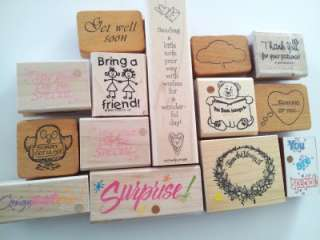 153 Rubber Stamps VINTAGE Rare many RETIRED & wood mounted NEW/USED