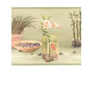 Wallpaper Border Zen Spa Bamboo Garden on Light Green Faux