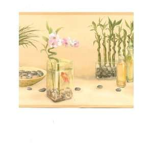 Wallpaper Border Zen Spa Bamboo Garden on Yellow Faux
