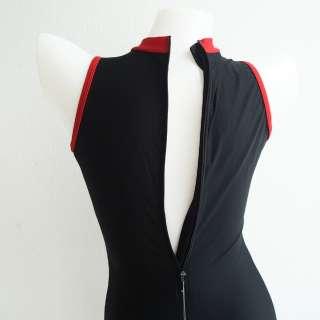NWT Womens Speedo Legsuit One Piece Swimsuit Zip Back Black/Red Size M