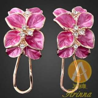 ARINNA Swarovski Crystal violet gold GP fashion Earring