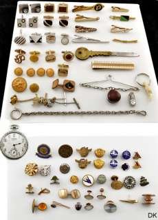 Jewelry Costume Lot Cufflinks Tie Tacks Brass Buttons & Other Acces