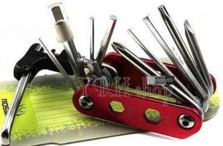 Cycling BIKE 14 in 1 Multi function bicycle tools repair kits Red