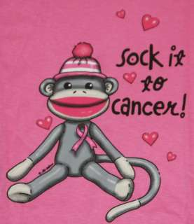 Breast Cancer Sock Monkey Womens Pink Fitted T Shirt