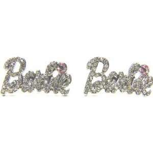 Nicki Minaj Barbie Silver Iced Out Crystal Earrings with