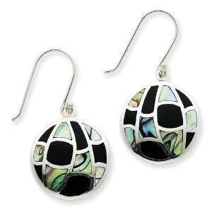 Sterling Silver Onyx & Abalone Earrings Jewelry