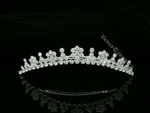 Bridal Rhinestone Crystal Flower Wedding Tiara Hair Comb 6563