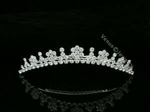 Bridal Rhinestone Crystal Flower Wedding Tiara Hair Comb 6563