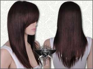 GW005 Fashion Straight Classy Layer Long Dark Brown Wig