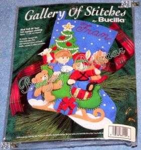 Bucilla SLED FULL OF TOYS Stocking Rocking Horse, Teddy Felt Christmas