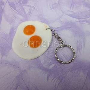 1x Key Chain Metal Ring Rubber Fried Egg Sunny Side Up