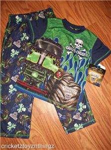 MONSTER JAM GRAVE DIGGER TRUCK Boys Pajamas Pjs Shirt Pants NEW 4/5 6