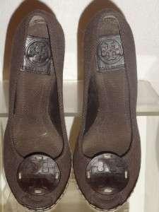 Tory Burch Brown Canvas Platform Wedge Escapadrilles Heel Shoe Shoes