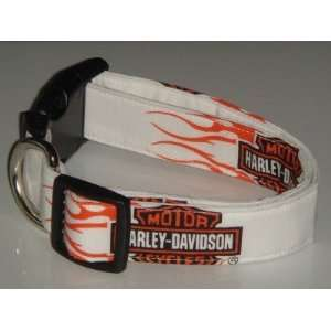 Harley Davidson Motor Cycles Flames Small 1 Dog Collar