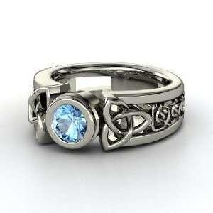 Celtic Sun Ring, Round Blue Topaz 14K White Gold Ring Jewelry
