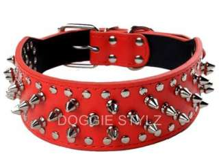 Pink Leather Dog Collar Spikes & Studs Pitbull 20 23