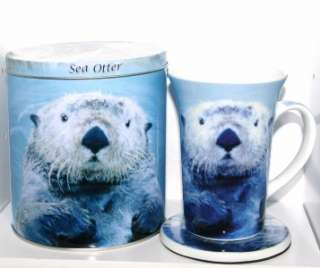NEW 2008 Paul Cardew SEA OTTER Tin Box Canister w Coffee Mug / Tea Cup