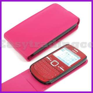 Flip Leather Case Pouch Cover for Nokia C3 Hot Pink