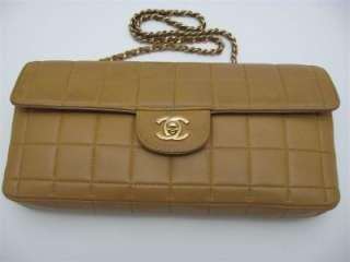 Vintage Camel Brown Lambskin Leather Shoulder Bag Handbag / Clutch