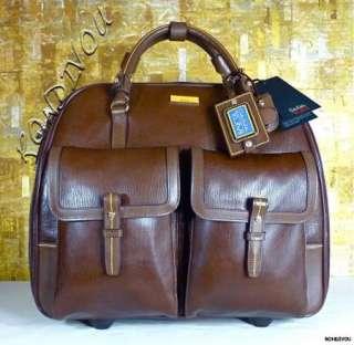 FALCHI 73200 LEATHER WHEELED CARRY ON LUGGAGE BUSINESS CASE BAG