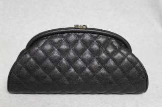 Chanel Timeless Classic Black Caviar Leather Clutch Bag New 2012C