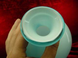 16 ICE BLUE Art GLASS VASE Cased Glass CERULEAN Vintage 60s