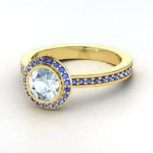 Roxanne Ring, Round Aquamarine 14K Yellow Gold Ring with