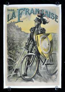 SOCIETE LA FRANCAISE * BICYCLE BIKE DIAMANT TIRE KNIGHT FRENCH POSTER