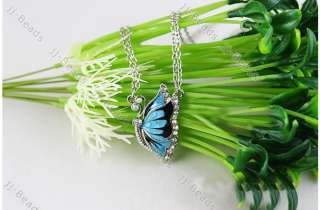 1Pc Fashion Enamel Blue Butterfly Crystal Pendant Sweater Link Chain