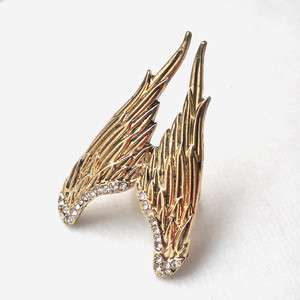 Fashion Crystal ANGEL WING Adjustable RING Gold #2