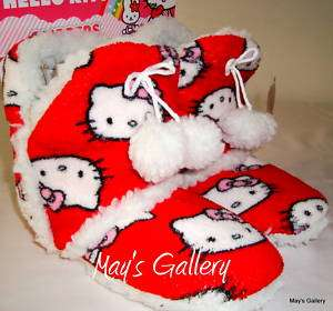 Hello Kitty Slipper Sandal Shoes Plush NWT Sz 9 /10 L