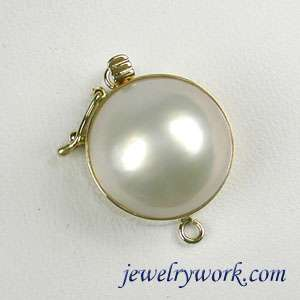 Smooth 14.5mm Mabe Pearl Solid 14K Yellow Gold Clasp
