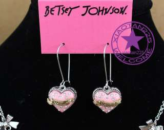 Betsey Johnson Crystal pink Heart Necklaces Earrings