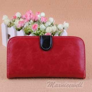 Button PU Leather Wallet Clutch Card Holder Purse Long Handbag