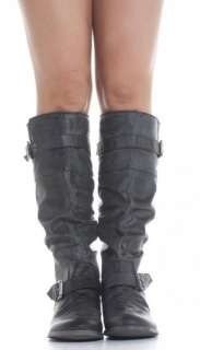 Womens Black Riding Style Ladies Flat Low Heel Knee High Boots Size 3