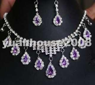 nobly 18K GP Purple crystal zircon necklace earring set