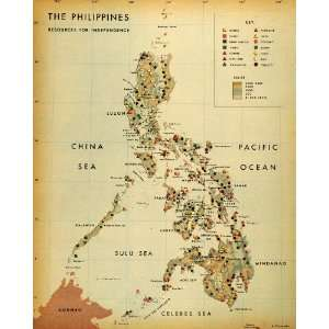 1944 Print Map Philippines Natural Resources Rubber Sulu Sea Celebes
